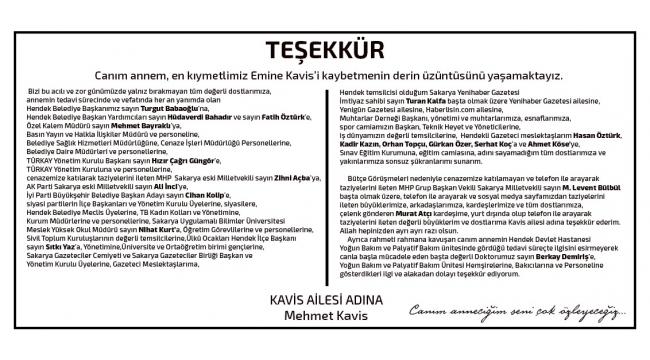 Gazeteci Mehmet Kavis'ten Teşekkür İlanı...
