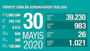 Türkiye'deki corona virüsü vaka ve ölü sayısında son durum (30 Mayıs 2020)