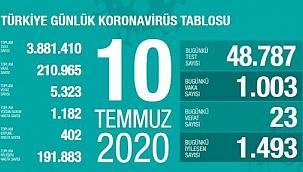 Türkiye'deki corona virüsü vaka ve kayıp sayısında son durum (10 Temmuz)