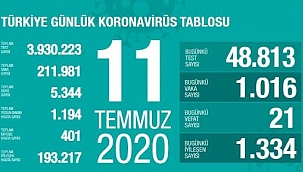 Türkiye'deki corona virüsü vaka ve kyıp sayısı (11 Temmuz)
