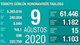 Türkiye'deki koronavirüs vaka ve ölü sayısında son durum (9 Ağustos Pazar)