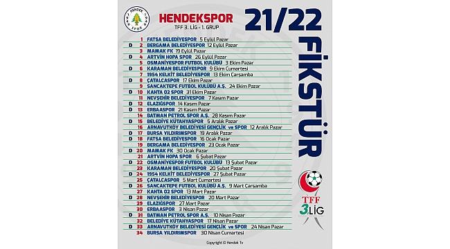 HENDEKSPOR'UN FİKSTÜRÜ BELLİ OLDU